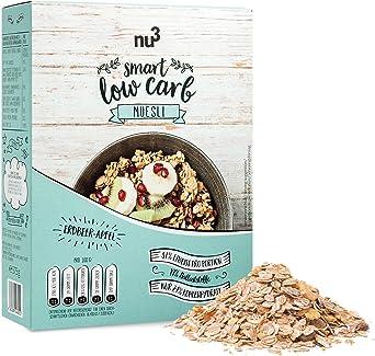 nu3 Muesli Low Carb sabor fresa y manzana - 575 g de mezcla de avena y cereales - Desayuno vegano nutritivo bajo en carbohidratos - 100% más fibra y ...