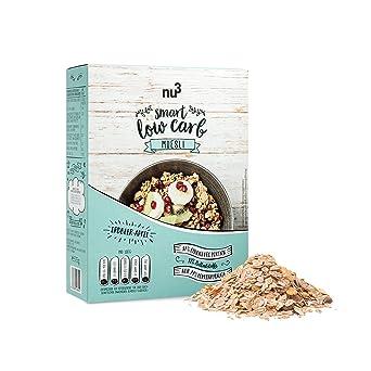 nu3 Muesli Low Carb sabor fresa y manzana   575g de mezcla de avena y cereales   Desayuno vegano nutritivo bajo en carbohidratos   100% más fibra y 200% más ...