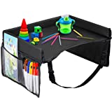 Kids Travel Tray – Waterproof, Portable Toddler Snack and Play Station with Mesh Storage Pockets – Activity Lap Desk for Car Seat, Stroller, Plane by EverythingINplace - Black
