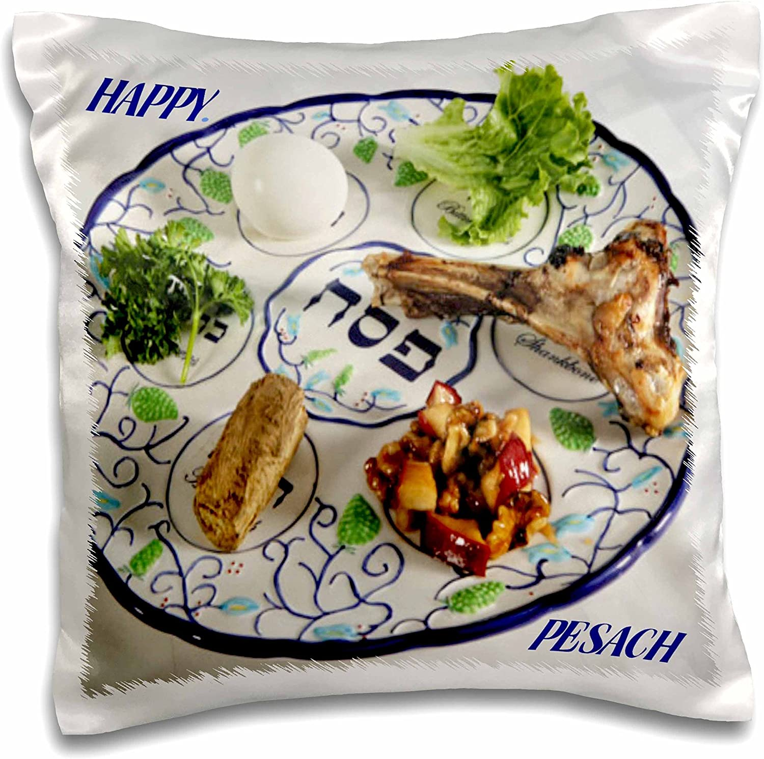 3dRose Pesach Plate with Passover Foods-Pillow Case, 16 by 16