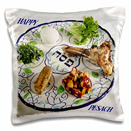 Amazon com: 3dRose Pesach Plate with Passover Foods-Pillow