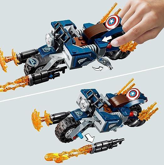 LEGO Super Heroes - Capitán América: Ataque de los Outriders, Juguete de Construcción, Moto con Lanzallamas del Primer Vengador (76123): Amazon.es: Juguetes ...