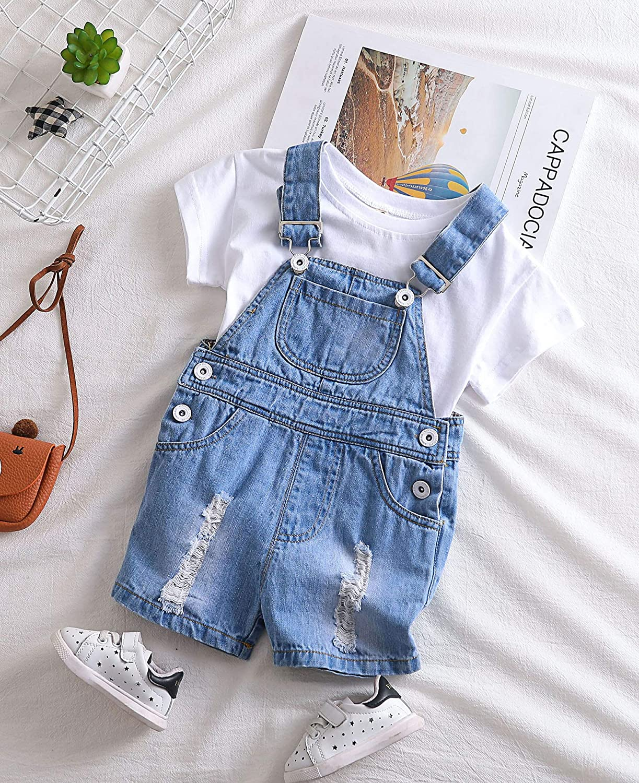 Kidscool Baby /& Toddler Girls//Boys Big Bibs Ripped Hole Summer Jeans Shortalls