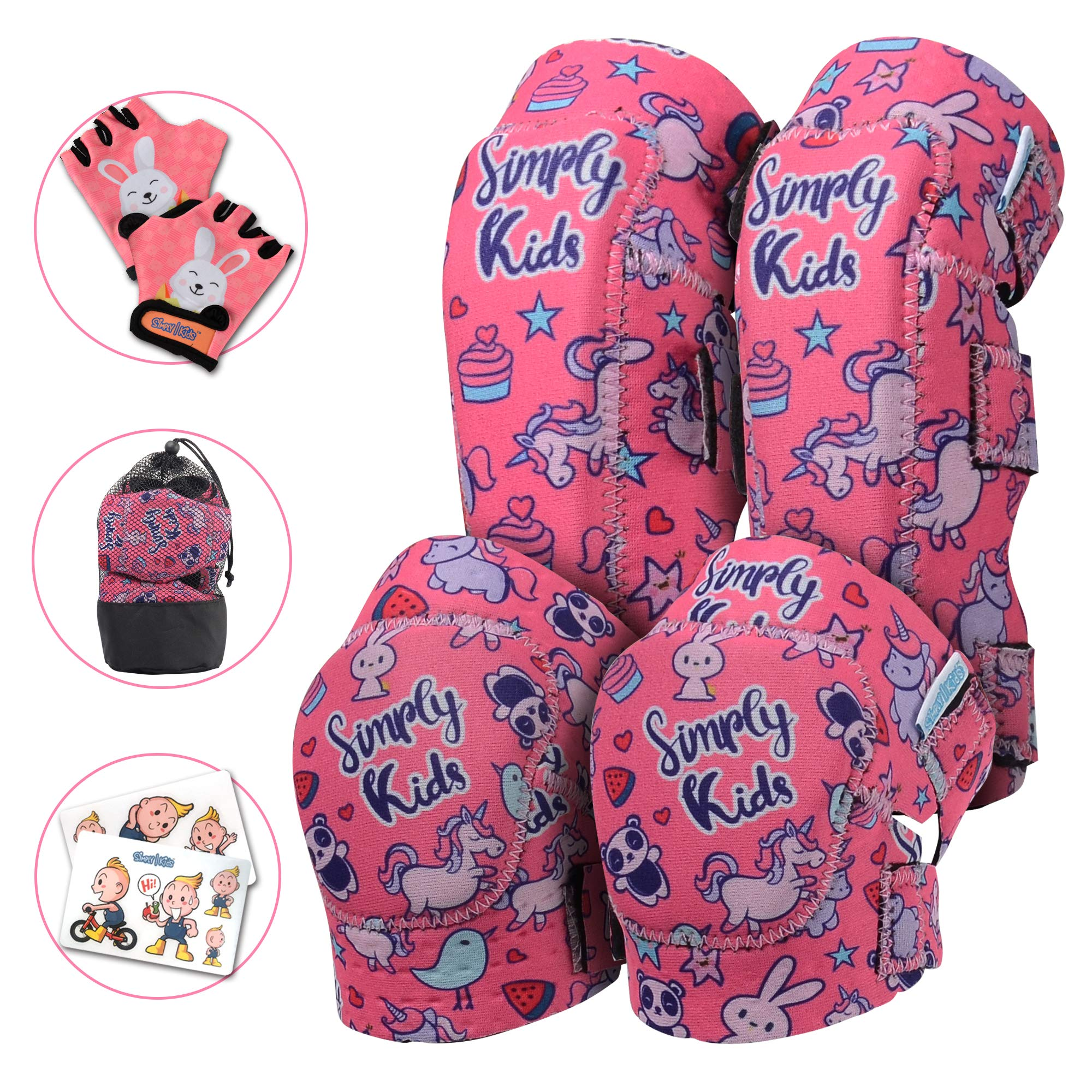 Elbow and Knee Pads for Kids with Bike Gloves | Kids Protective Gear Set | Kids Knee and Elbow Pads | Kids Knee Pads | Roller-Skating, Skateboard, Bike for Children Boys Girls (Unicorn, Medium 4-8) by Simply Kids