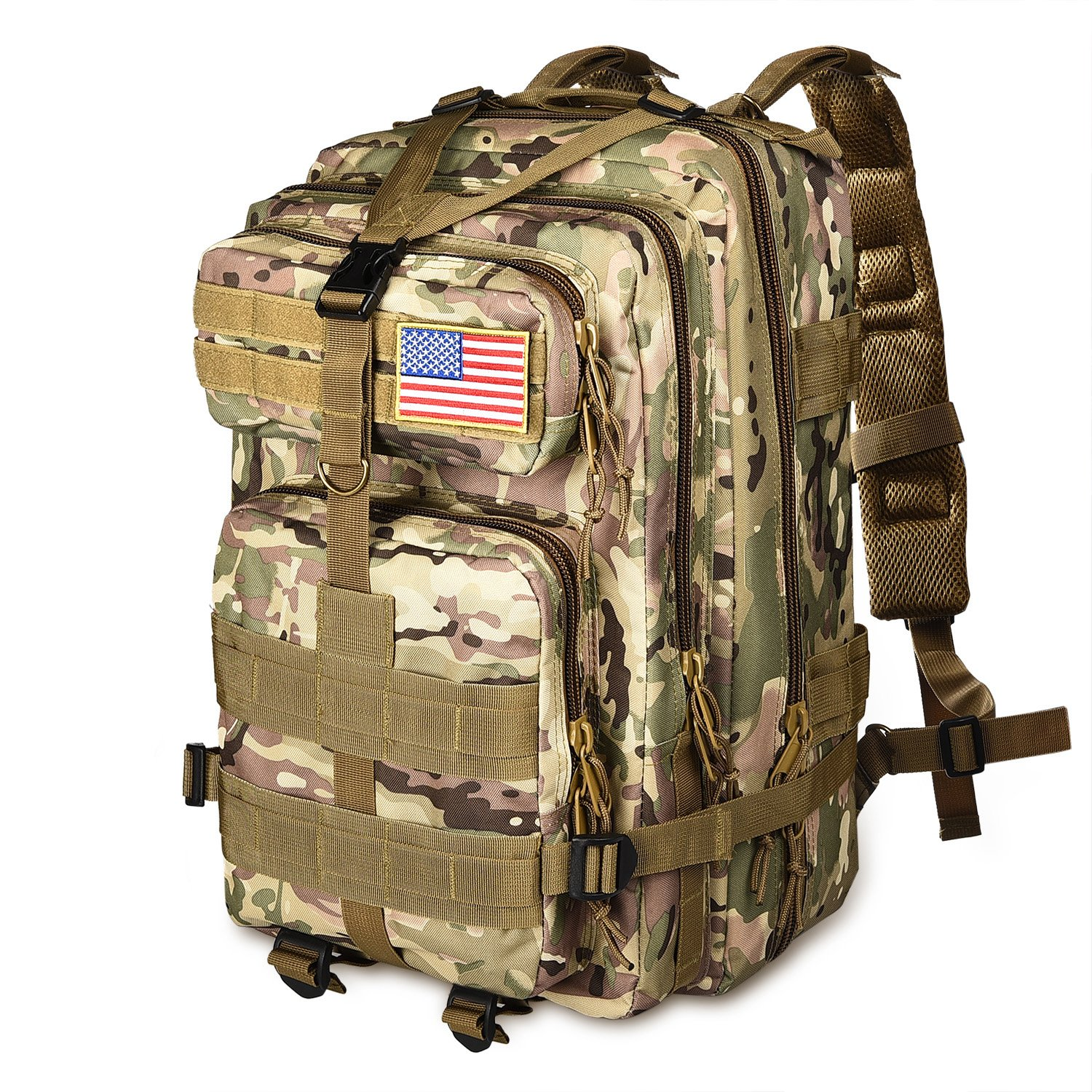 NOOLA 40L Military Tactical Army Backpack 3 Day Pack Molle Bag Backpack Rucksacks for Outdoor Hiking Camping Trekking Hunting with Flag Patch CP