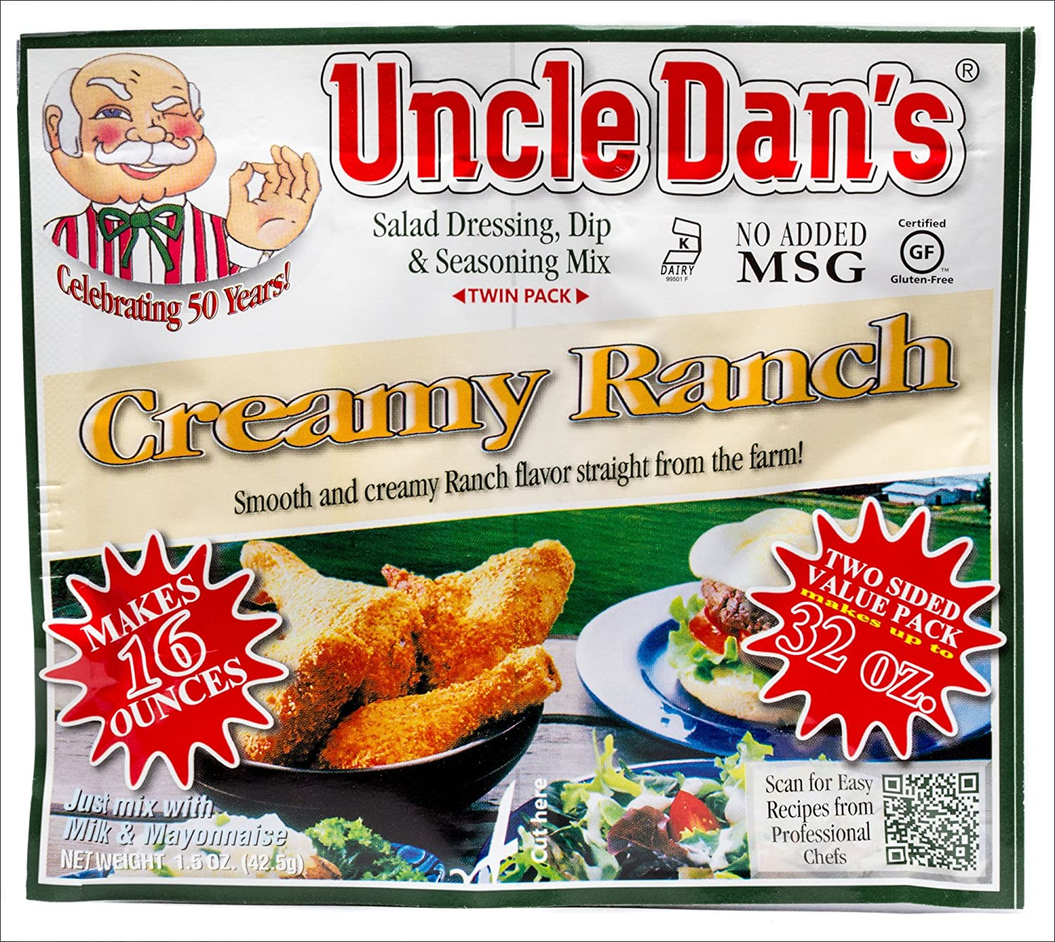 Uncle Dan's Creamy Ranch Dressing, Dip, and Seasoning Mix - Twin Pack - Packet