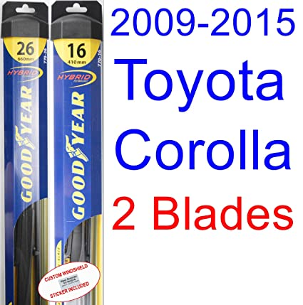 2009-2015 Toyota Corolla LE Replacement Wiper Blade Set/Kit (Set of 2 Blades) (Goodyear Wiper Blades-Hybrid) (2010,2011,2012,2013,2014)