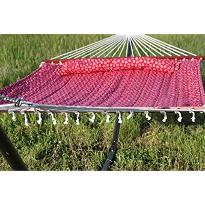 Quilted Fabric Double Hammock with Pillow
