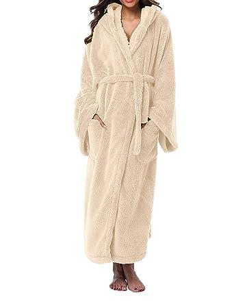 VOGMATE Womens Winter Robe Long Lightweight Kimono Robe Bathrobe ...