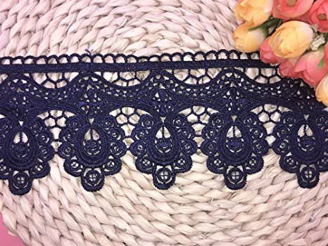 2 Yards in one Package 9.5CM Width Europe Floral Venise Pattern Inelastic Embroidery Trims,Curtain Tablecloth Slipcover Bridal DIY Clothing//Accessories. Navy Blue