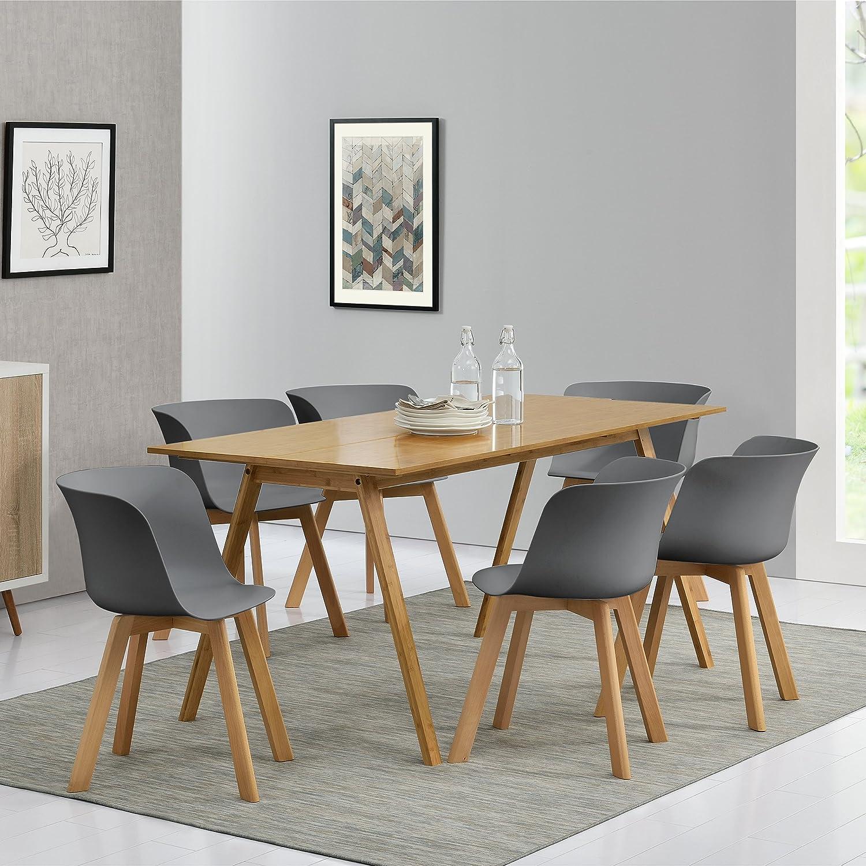 en.casa]® Esstisch mit 6 Stühlen Bambus/grau 180x80 Küchentisch ...