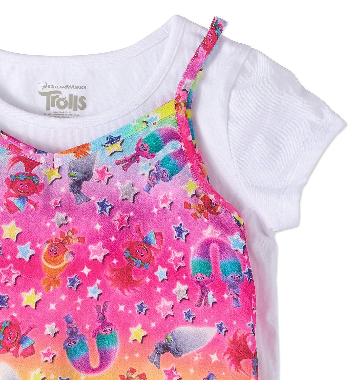 Girls Rainbow Lace Trim Slip Dress with T-Shirt 2-Piece Set S 6//6X