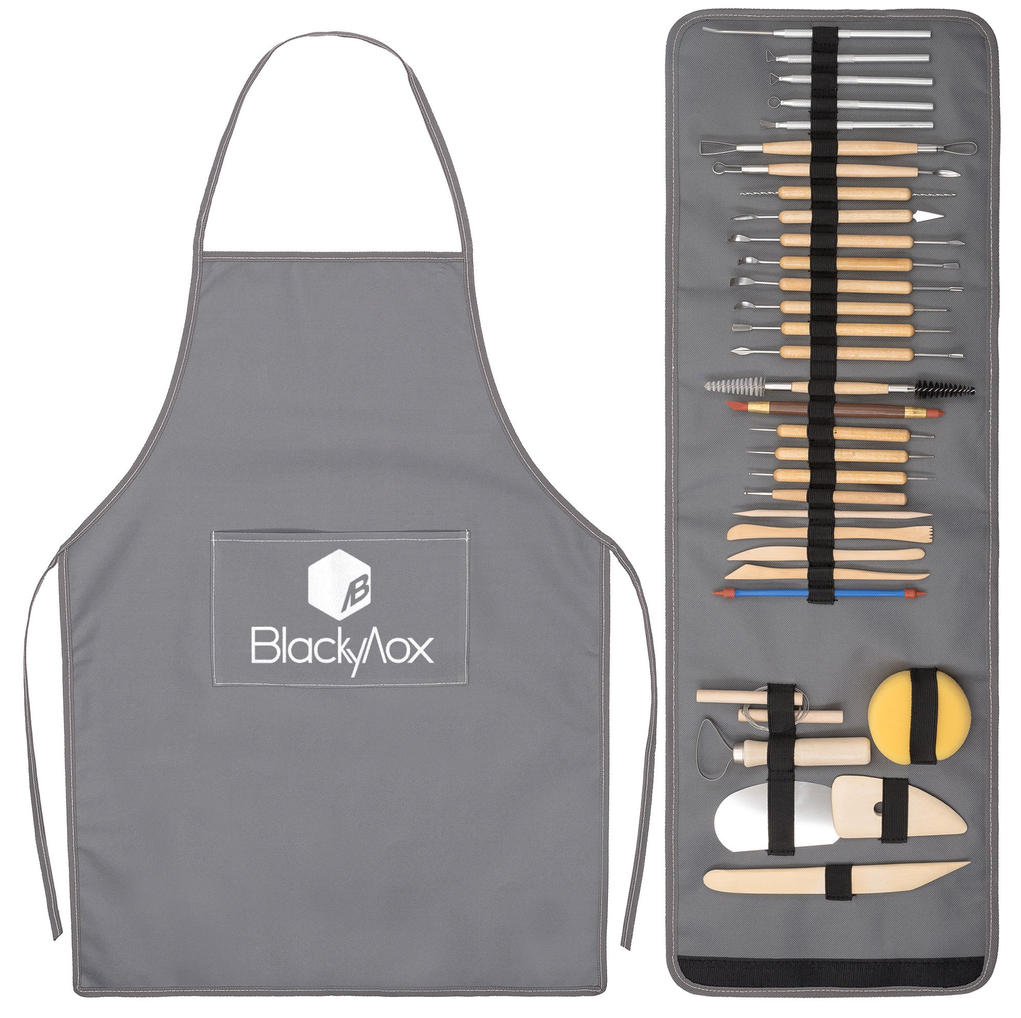 BlackyVox Pottery and Clay Sculpting Double Sided Tool Set Sturdy Toolkit 32 Pieces for Polymer Clay Tools For Carving and Chipping Sculpting Tool Set for Beginner Carrying Case Artist Apron