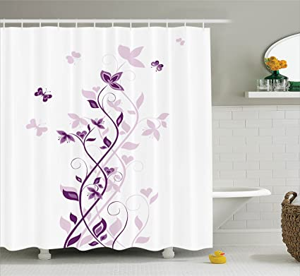 Ambesonne Purple Decor Shower Curtain Set Violet Tree Swirling Persian Lilac Blooms With Butterfly Art