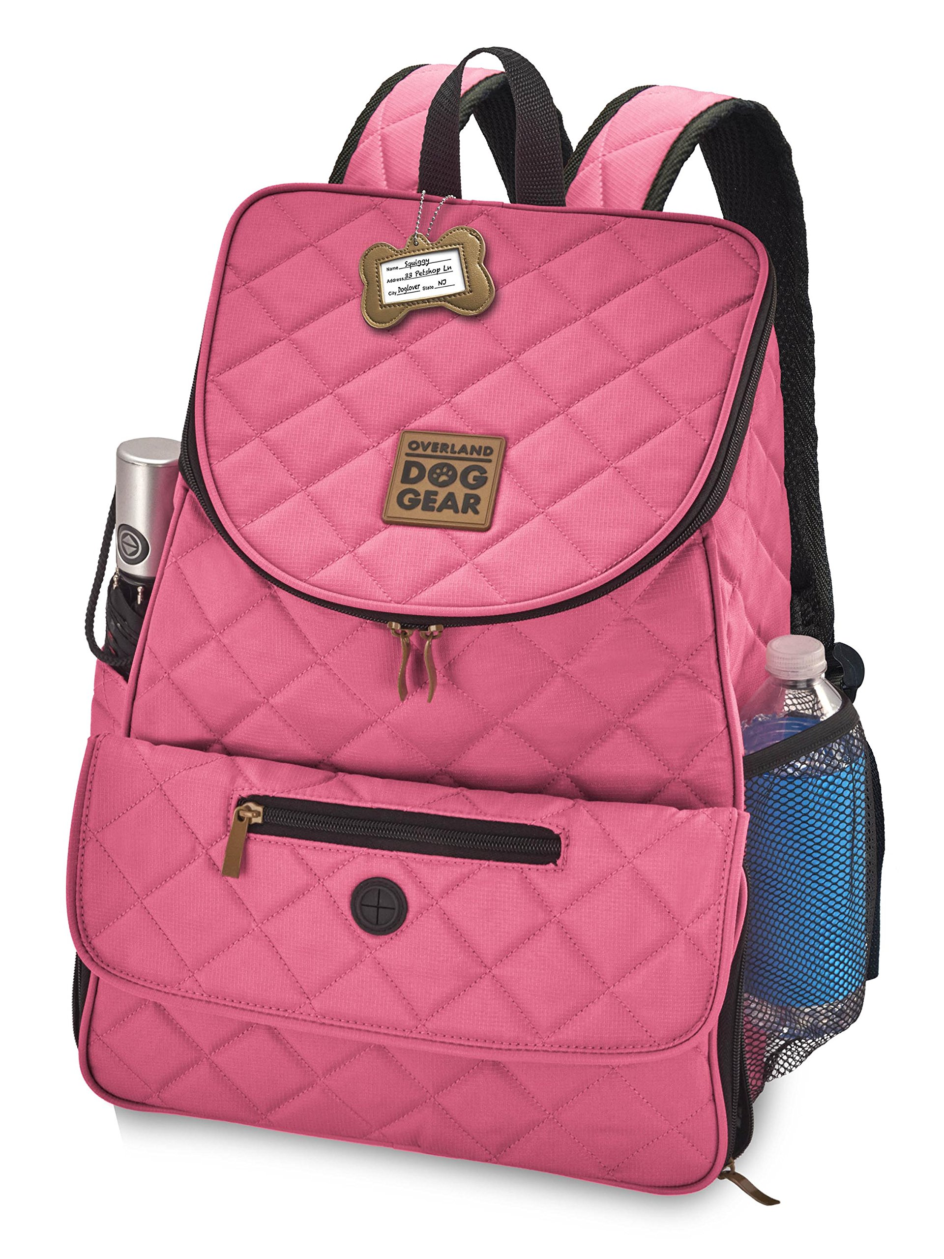 Dog Travel Bag - Deluxe Quilted Weekender Backpack - Includes Lined Food Carriers and Collapsible Bowls (Pink) by Overland Dog Gear
