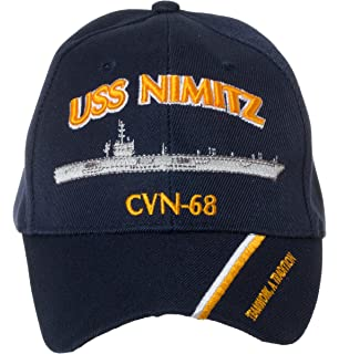 7045a710057 Artisan Owl Officially Licensed USS Nimitz CVN-68 Embroidered Navy Blue Baseball  Cap