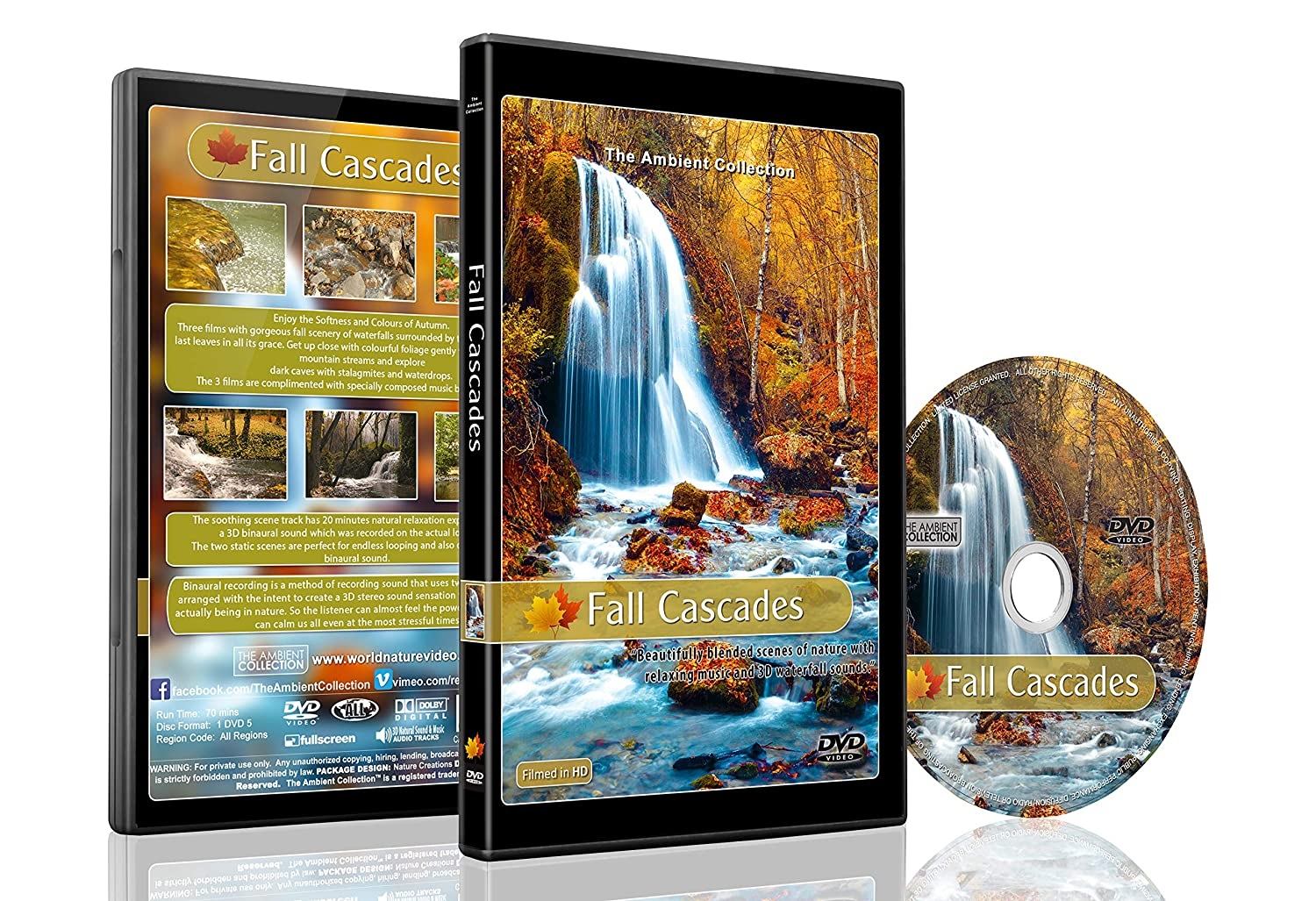 Relaxing Waterfall DVD - Fall Cascades - Soothing Softness and Colours of Autumn with 3D Binaural Water Sound Recording for a Natural Relaxation Experience and Relaxing Piano Music