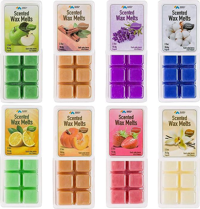Mindful Design 8 Pack Scented Wax Melts/Cubes/Tarts - Apple, Cinnamon, Clean Cotton, Lavender, Pumpkin Spice, Sage Citrus, Strawberry, & Vanilla