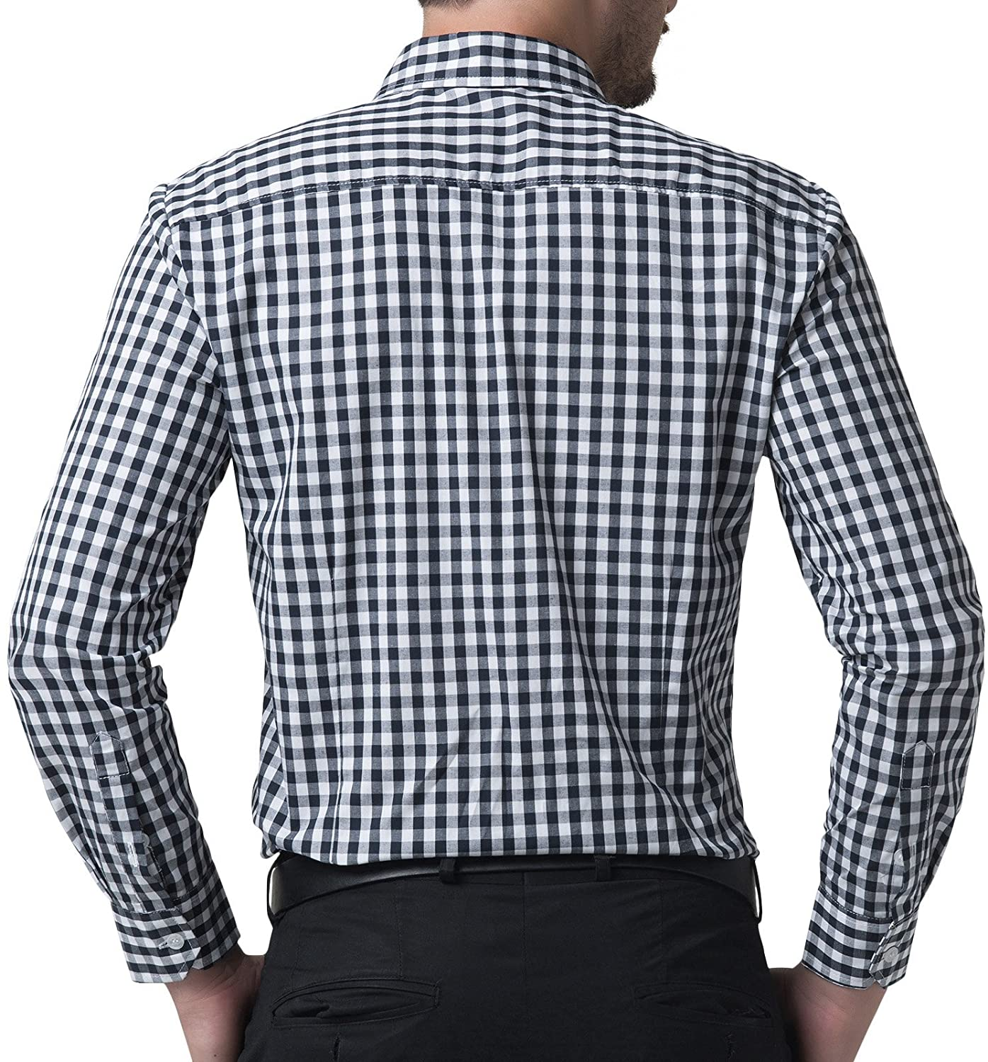 Casual Slim Fit Plaid Dress Shirts for Men Long Sleeve at Amazon ...