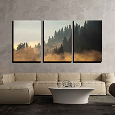wall26 - 3 Piece Canvas Wall Art - Beautiful Summer Landscape in The Mountains. Sunrise - Modern Home Decor Stretched and Framed Ready to Hang - 16 x24 x3 Panels