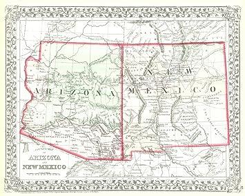 Amazon.com: Vintage Map - 1872 County Map of Arizona and New ...