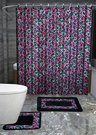 Amazon.com: Hearts 15-piece Love Bathroom Accessories Set Rugs ...