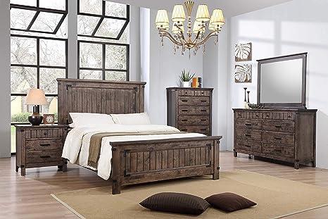 Amazon.com: Mollai Collection 5 Piece Bedroom Set - Grey ...