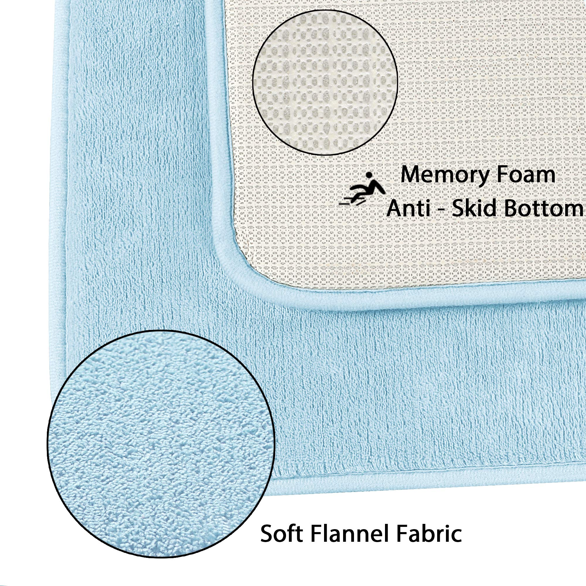 Memory Foam Bathroom Rug Set Ultra Soft Flannel Floor Mats Tufted Bath Rug with Non-Slip Backing Microfiber Door Mat for Kitchen/Entryway/Living Room (Pack 2-17'' x 24''/ 20'' x 32''- Sky Blue) by Flamingo P (Image #6)