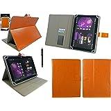 Emartbuy® Samsung Galaxy Tab S2 9.7 Zoll Wi-Fi SM-T813 Tablet Universalbereich Orange Multi Angle Exekutiv Folio Mappen Kasten Abdeckung mit Kartensteckplätze + Schwarz Eingabestift