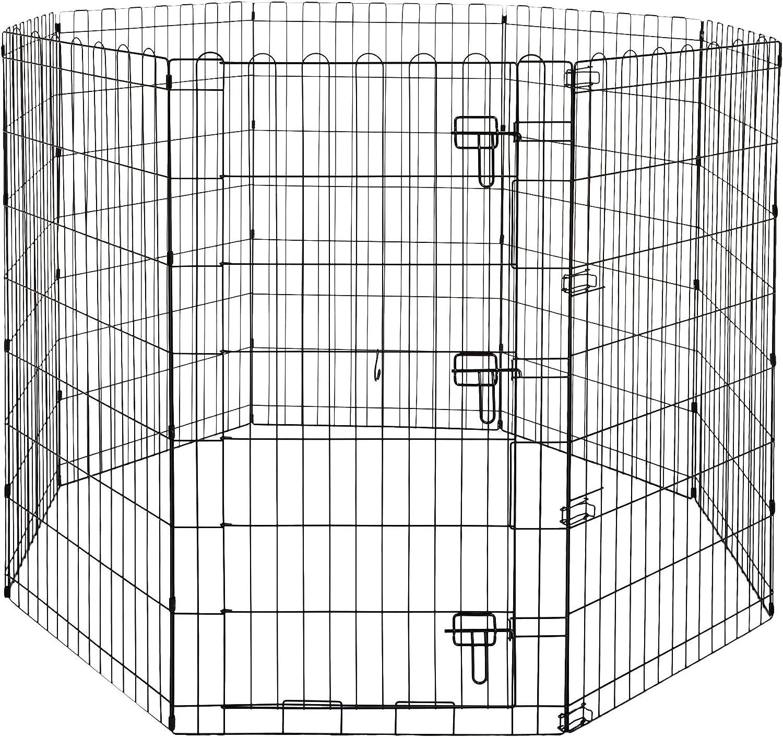 AmazonBasics - Parque de juegos y ejercicios para mascotas, paneles de valla metálica, plegable, 152,4 x 152,4 x 106,6 cm
