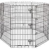 Amazon Basics - Parque de juegos y ejercicios para mascotas, paneles de valla metálica, plegable, 152,4 x 152,4 x 106,6…