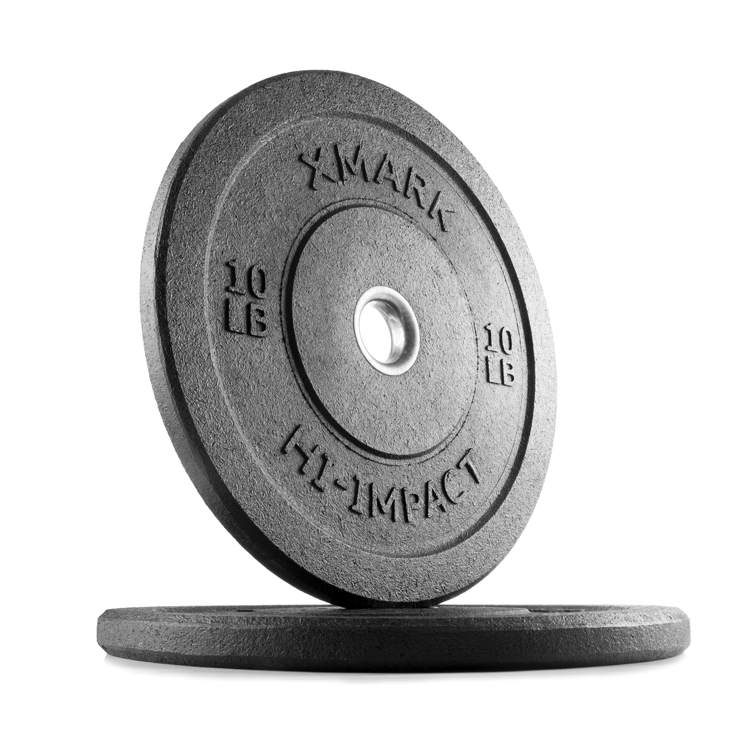 XMark 10 lb Pair Go Green Bumpers, Three-Year Warranty, Hi-Impact Commercial Olympic Bumper Weight Plates, XM-3391