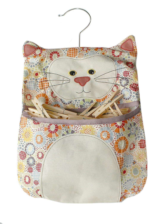 Wäscheklammerbeutel in Katzenform, im Vintage-Stil, mit Wäscheleine, 50 Holzwäscheklammern mit Wäscheleine 50 Holzwäscheklammern BZB
