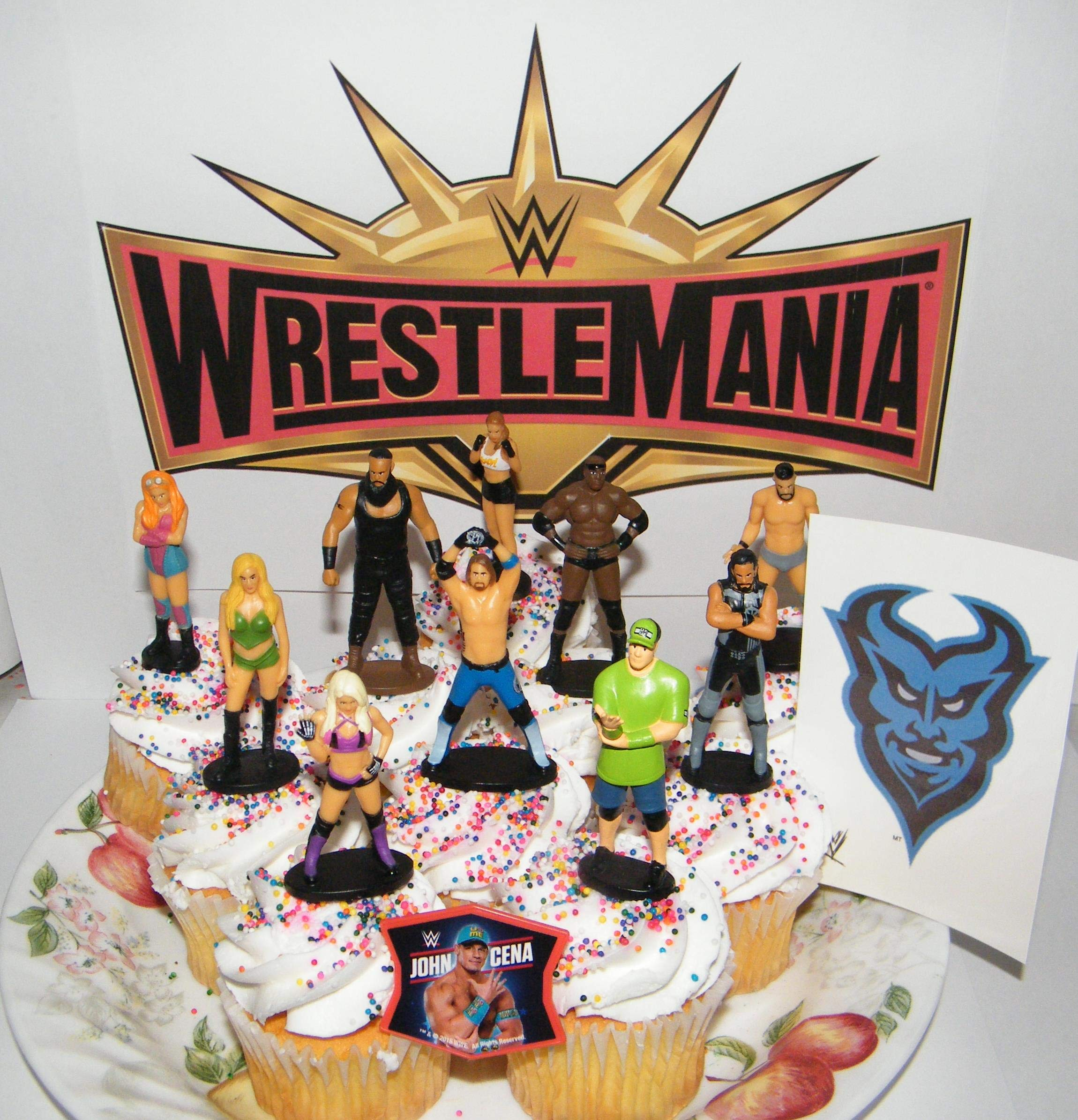 WWE Wrestling Deluxe Cake Toppers Cupcake Decorations Set of 12 with 10 Figures, WWE Tattoo, FingerRing Featuring John Cena, Alexa Bliss and Many More! by BB Inc