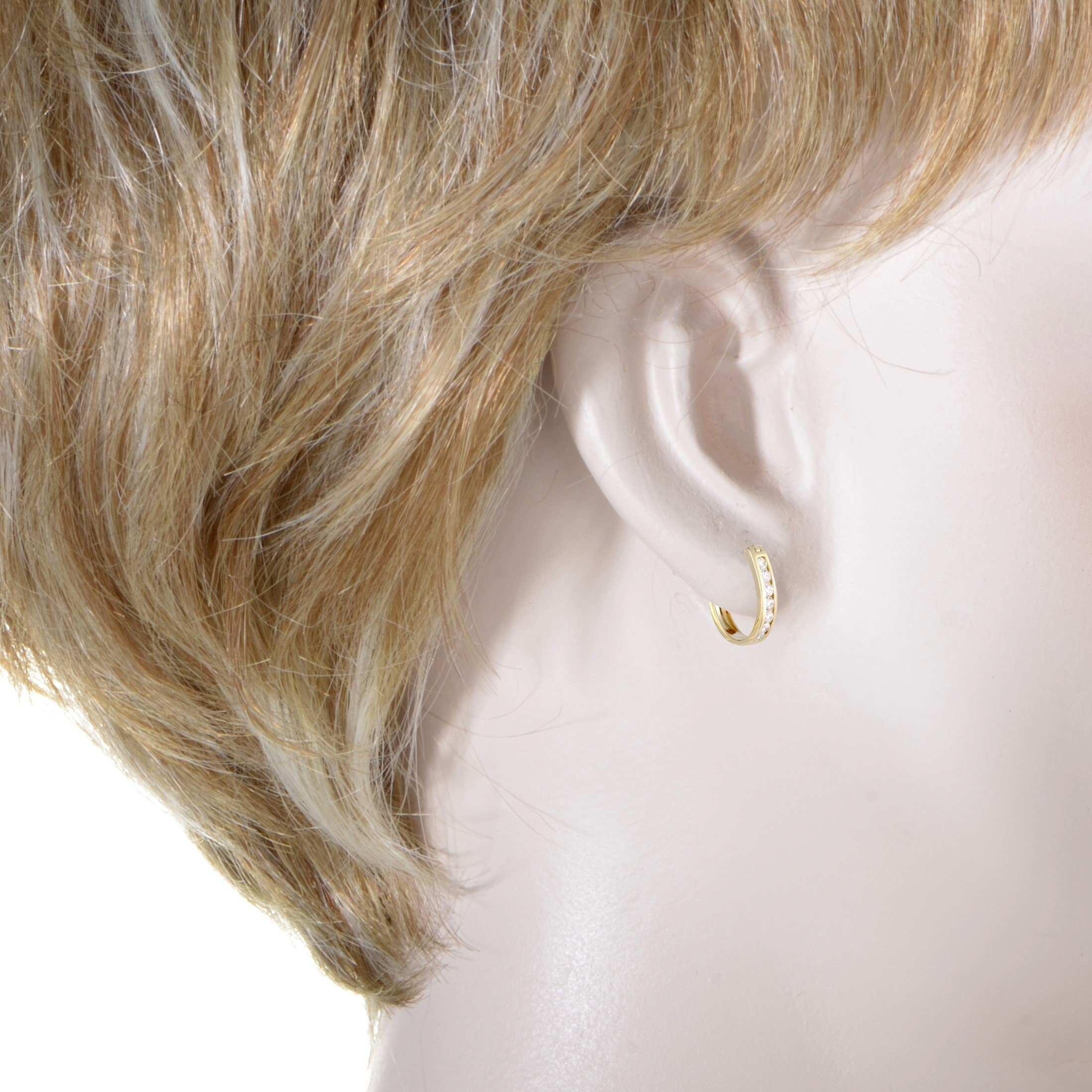 0.5 Carat (ctw) Diamond Channel Horseshoe Hoop Earrings in 14K Yellow Gold; 1/2 CT White Diamonds (G Color, SI1-SI2 Clarity) in 0.75'' Hoops by Luxury Bazaar (Image #2)