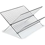 Finnhomy Chrome Finish 2 Tier Dish Drying Rack Chrome Folding Dish Drainer W/ a Drain Board, 15.5 Inch