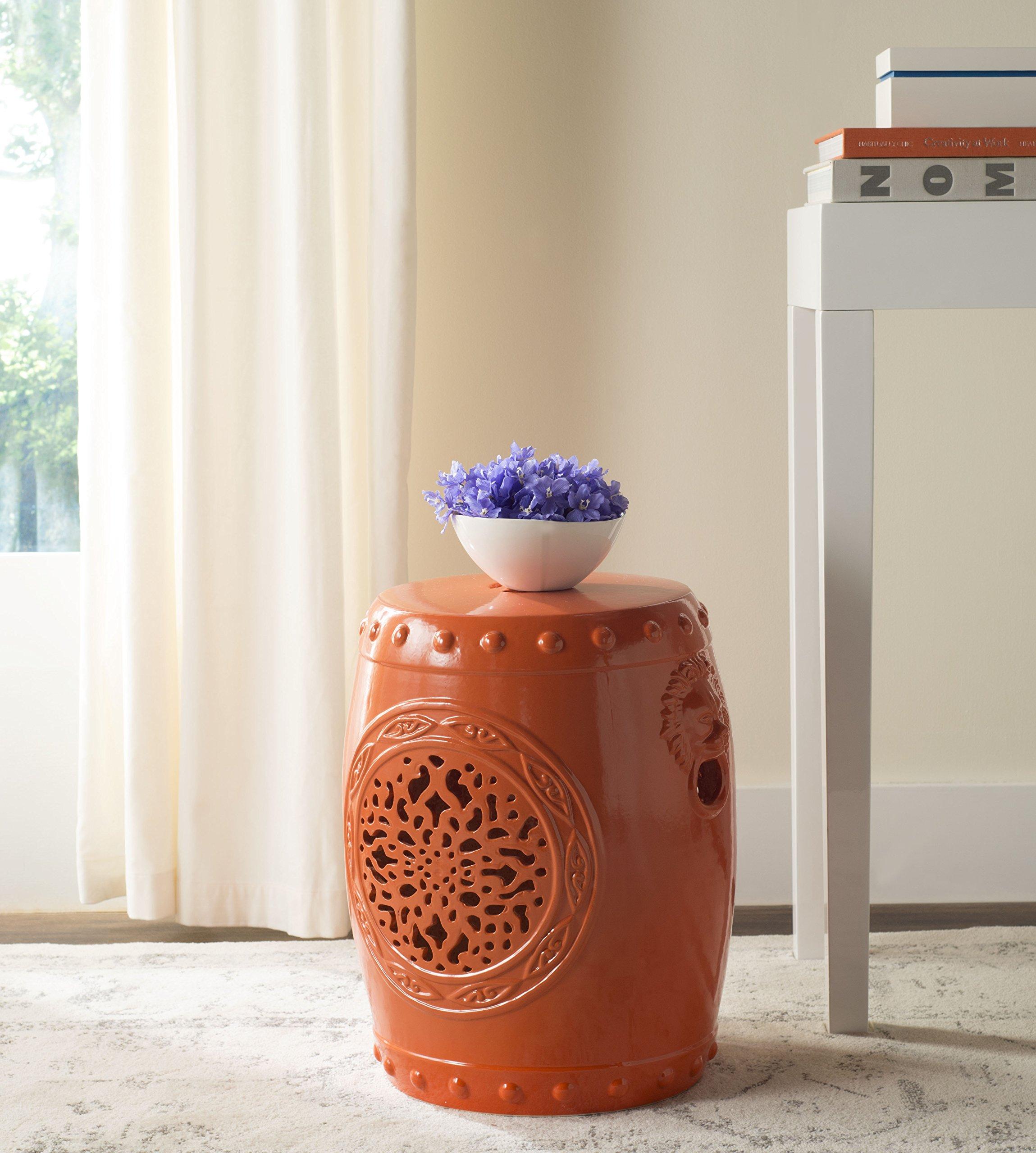 Safavieh Castle Gardens Collection Flower Drum Orange Glazed Ceramic Garden Stool