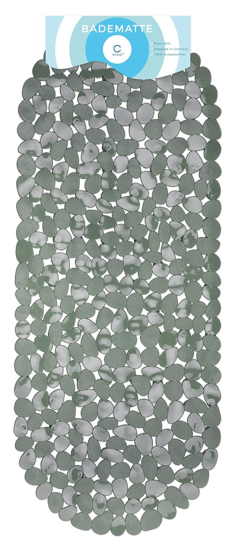 Circul, tappetino per vasca da bagno, 99x 39cm, colore grigio, effetto pietre, moderno