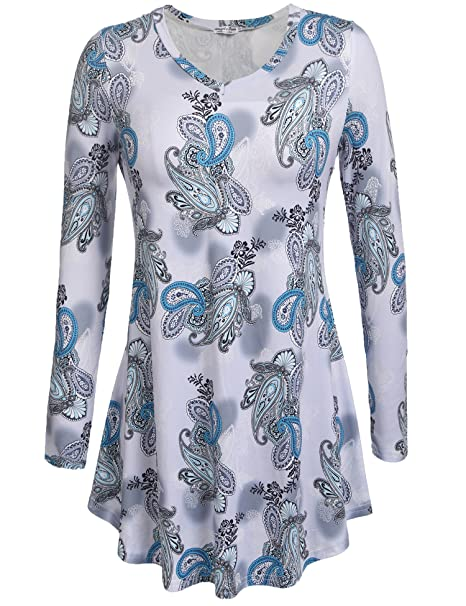 bccfd031a0800 SimpleFun Women s V Neck Long Sleeve Flowy Casual Tunic Tops Floral Shirts  Loose Blouses at Amazon Women s Clothing store