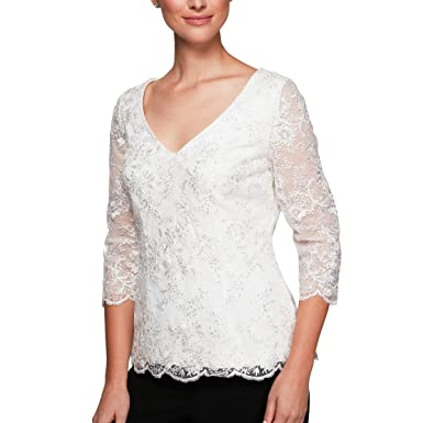 94a2dbcc1a8 Alex Evenings Women s Embroidered Blouse with Scallop Detail
