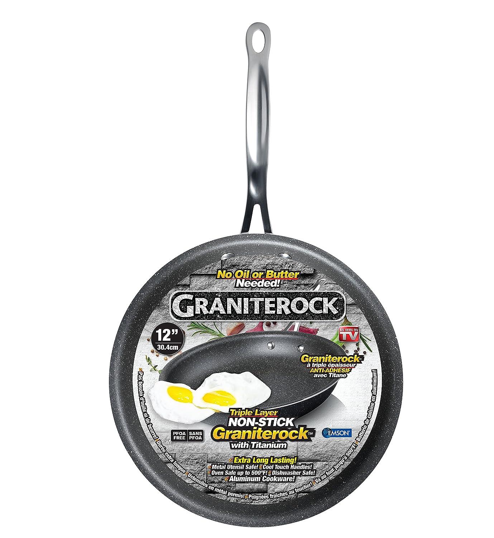 Graniterock Non-stick, No-warp, Mineral-enforced Frying Pans PFOA-Free As Seen On TV (12-inch)