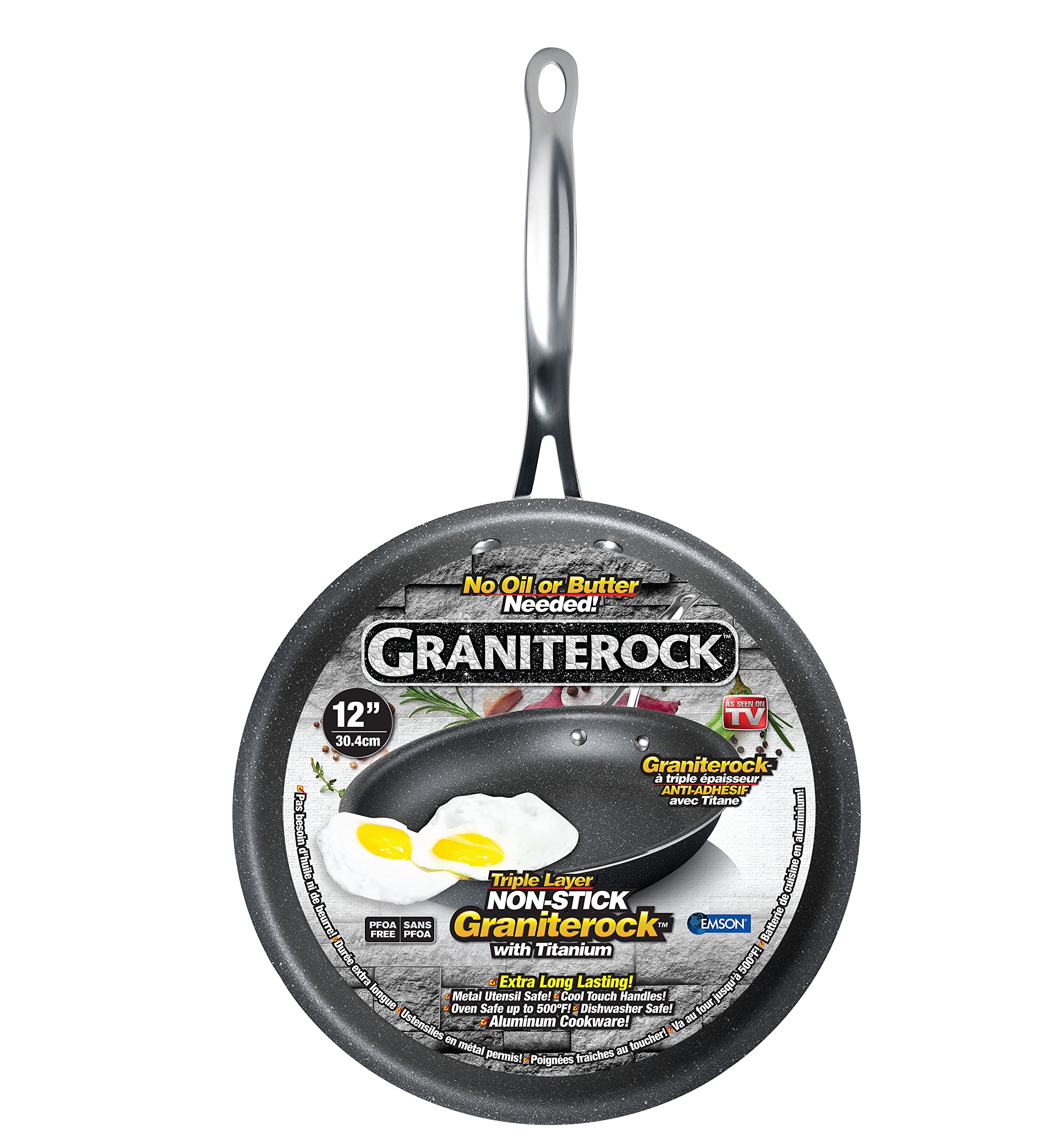 Graniterock Non-stick, No-warp, Mineral-enforced Frying Pans PFOA-Free As Seen On TV (12-inch)