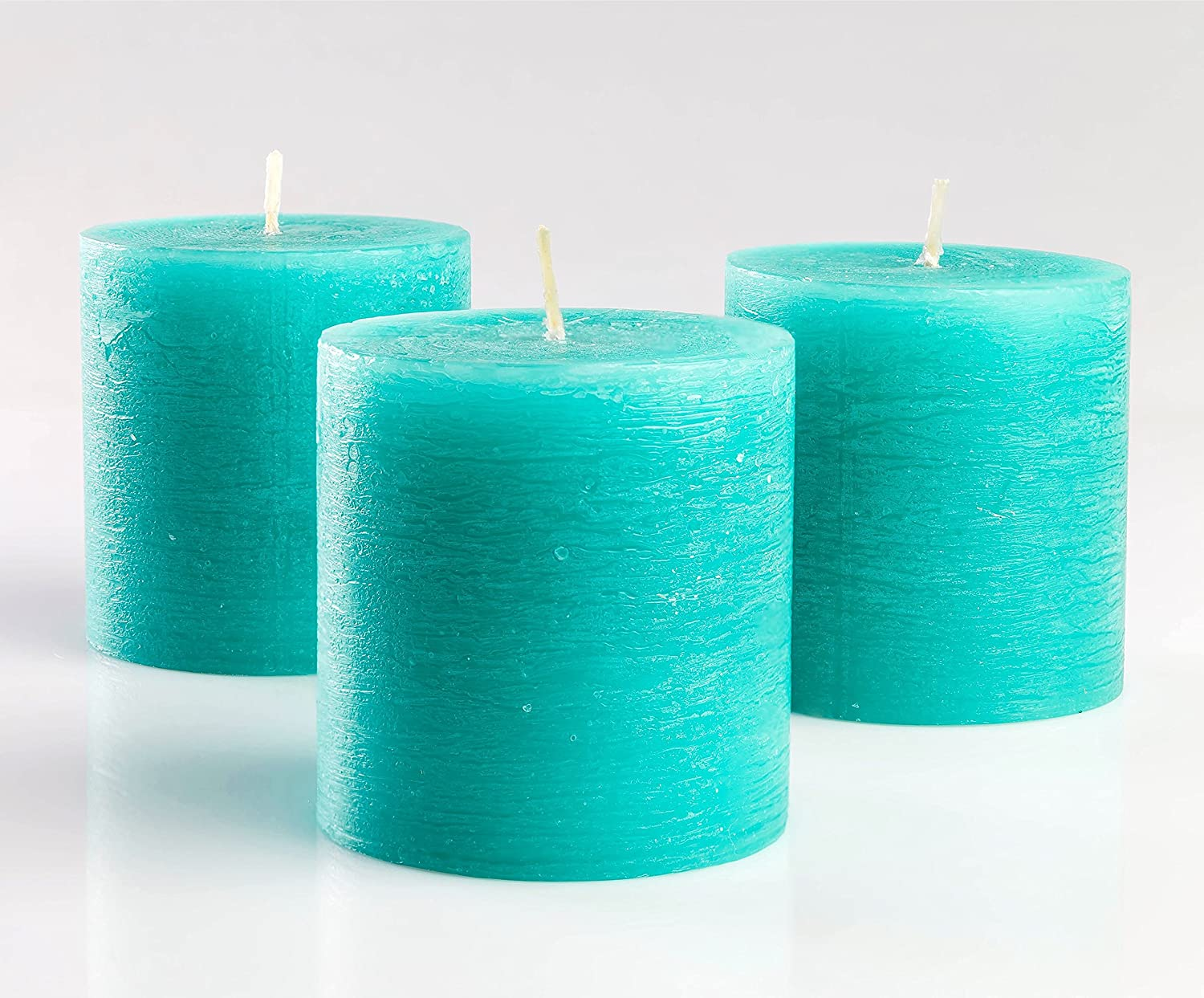 "Set of 3 Turquoise Pillar Candles 3"" x 3"" Unscented Rustic for Wedding Home Decoration Restaurants Spa Church Candles Smokeless and Dripless"