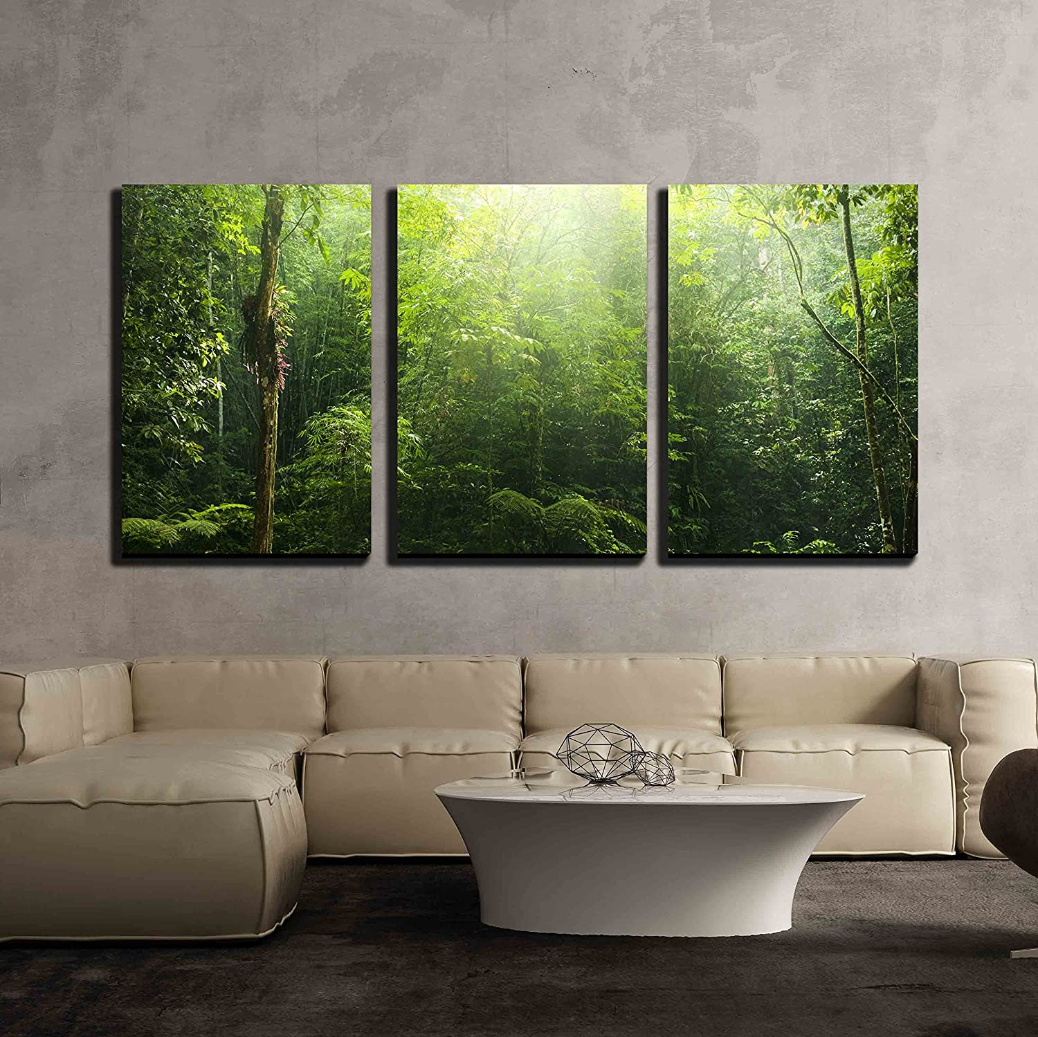 """wall26 - 3 Piece Canvas Wall Art - Green Forest with Ray of Light. - Modern Home Art Stretched and Framed Ready to Hang - 24""""x36""""x3 Panels"""