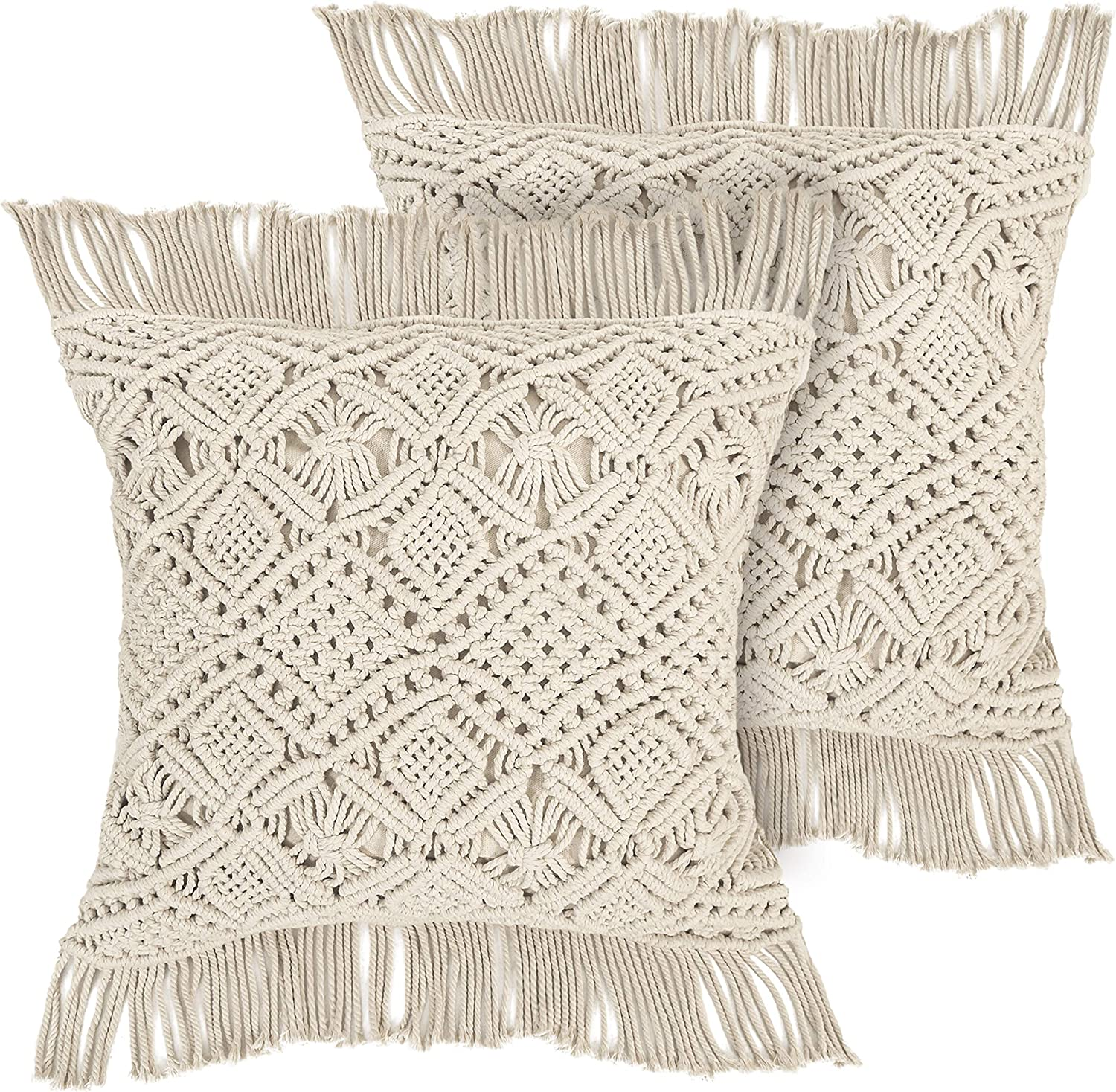 Livalaya Macrame Pillow Covers – 17 Inches Set of 2 Ivory Boho Throw Cushion Case, Farmhouse Woven Boho Cushion Cover with Tassels for Bed Sofa Couch Bench, Bohemian Home Decor, Decorative Pillowcase