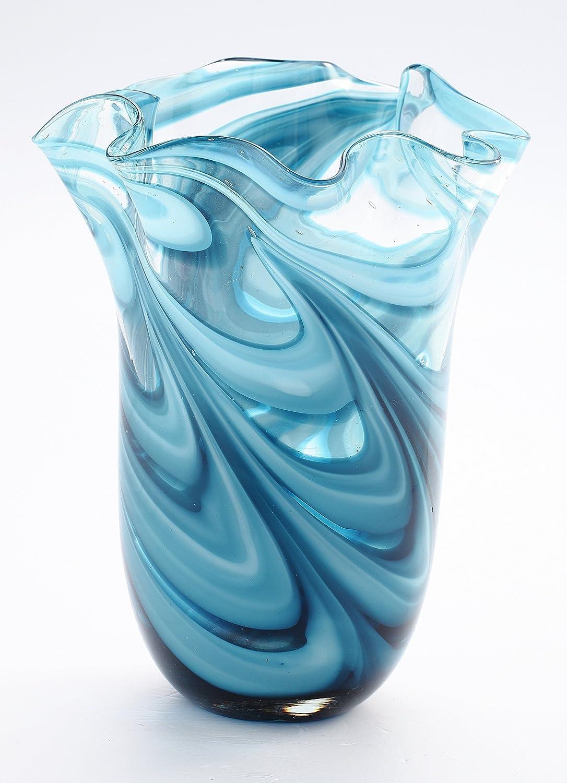 Amazon 11 hand blown glass murano art style vase blue amazon 11 hand blown glass murano art style vase blue handkerchief ruffle fluted home kitchen reviewsmspy