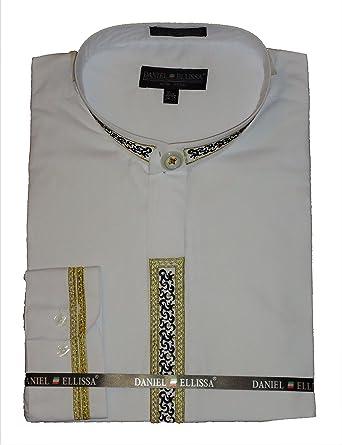1d318a0644fbe1 Daniel Ellissa Mens White Gold/Black Embroidered Mandarin Collar Dress Shirt  DS3111C (2XL 18.5