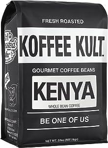 Koffee Kult Kenya Medium Roast Whole Bean Arabica Coffee Artisan Roasted (32oz whole bean)