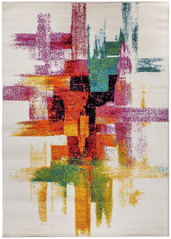 Carpetforyou Carpetforyou Carpetforyou Designer Abstrakter Kurzflor Teppich Pastels Streifen bunt in 4 Größen für Wohnzimmer und Jugendzimmer (140 x 200 cm) e6883f