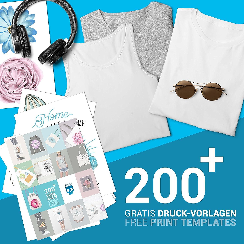 SKULLPAPER Premium película de transferencia textil para camisetas y prenda / A4 / incl. más de 200 plantillas de motivos GRATUITAS - papel transfer/para plotter de inyección de tinta (10 hojas): Amazon.es: Hogar